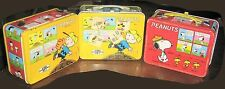 Lot 3 Peanuts School Lunchboxes,Thermos,Charlie Brown,Snoopy,Woodstock,Lucy,1965