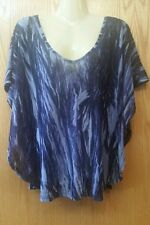VIVIENNE TAM Navy Blue Semi Sheer Mesh Poncho Style Batwing Top - Size Medium