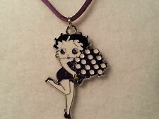 Purple Betty Boop w/Bouquet Pendant on Suede Cord Necklace w/ Lobster Clasp