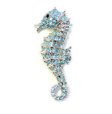 Seahorse Pin Brooch Gorgeous Aqua Light Blue Crystal