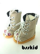 "BJD Yo-SD 1/6 Dollfie 13"" Effner 12"" Kish Doll Shoes Khaki Floral Boot"