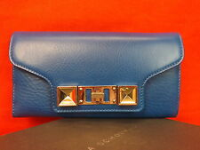 NWT PROENZA SCHOULER BLUE TEXTURE LEATHER PS11 CONTINENTAL CLUTCH WALLET $685