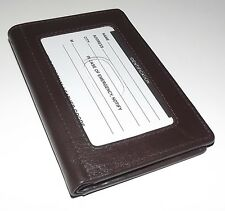 NEW MEN'S ITALIA LEATHER RFID PROTECTED FRONT POCKET WALLET WITH ID DARK BROWN