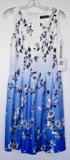New IVANKA TRUMP Sz 10 OMBRE Floral BLUE & IVORY Fit and Flare LINED Dress NWT
