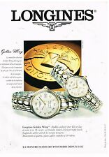 Publicité Advertising 1995 Les Montres Longines Gold Wing