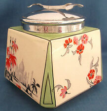 VINTAGE c1930s ART DECO TAJ MAHAL SUGAR BOWL CUBE INTEGRATED TONGS LID TEA TABLE