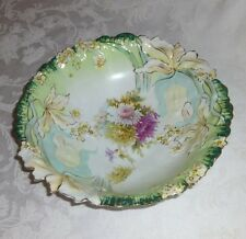 RS Prussia Double Hidden Image blow out mold bowl, two faces, antique 1901-1904