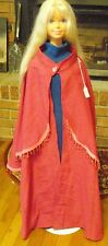Dark Pink Long Cloak with Mantle & Fringe for Child, Teen or Small Adult FSGC29