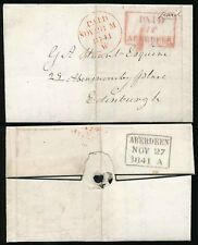 SCOTLAND 1841 PAID at ABERDEEN in PINK BOXED + CIRCLE PENNY POST