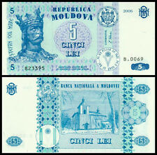 Europe - Moldova 5 Lei Paper Money,2006,P-9, Uncirculated .1Peices