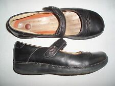 """WOMEN *XCOND* """"CLARKS/UNSTRUCTURED"""" BLACK LEATHER MARY JANE SHOE (8.5 M)"""
