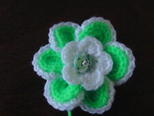 2 x 8cm Bright Green/White Crochet Flowers Embellishments/Applique in SirdarDK