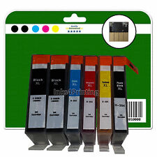1 Set + 1 Black Chipped Compatible Printer Ink Cartridges for HP PS 7520 364x5
