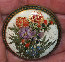 GORGEOUS ANTIQUE SIGNED JAPANESE SATSUMA CERAMIC BROOCH PIN HAT BUTTON HIBISCUS