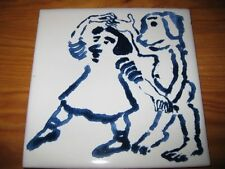 PORTUGAL PORTUGUESE PAULA REGO 1990s GIRL & DOG CERAMIC TILE CARREAU FLIESE