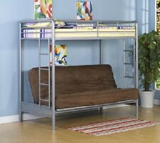 New Twin Over Full Futon Sofa Metal Bunk Bed Loft in Silver - FREE SHIPPING