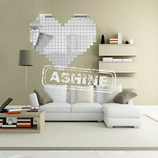 UK 100 Piece Tile Wall Mirror Stickers 3D Decal Mosaic Room Decor Stick Fashion