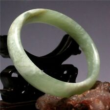 Very Rare Large&Wide Flat Light Green Glittering Jade Bangle Bracelet 64mm/2.52""