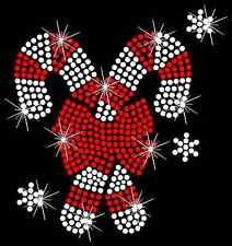 Christmas Candy Canes Holiday Hotfix Iron On Rhinestone Bling Shirt Transfer