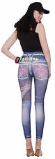 Graphic Hip Hop Jean Denim Blue Stretch Leggings XS/S (2-6) Jeggings