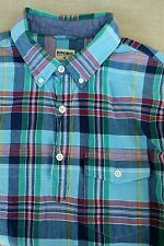 NWOT BONOBOS Madras Plaid Check Popover Pullover Shirt Medium M Blue Green Red