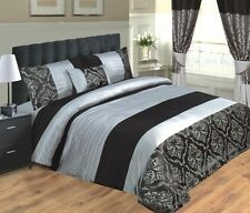 LUXURY DUVET COVER / SET INC PILLOWCASES & CUSHION - BLACK & SILVER - KING SIZE