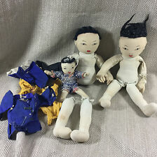 Chinese Dolls Vintage Job lot Collection Cloth Oriental Doll Restoration Repair