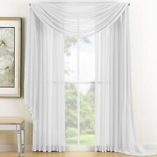 "Sheer Voile 2-Piece White Curtain Panel Solid Window Treatment 84"" Long New"