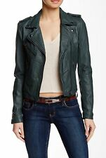 Doma Leather Moto Jacket Deep Sea Green XXS XS S $689