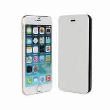 """For iPhone 6 Plus/6s Plus 5.5"""" White Leather Ultra Slim Book Style Case Cover"""