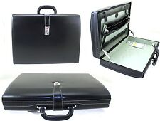 Executive Attache Case Faux Leather Expandable Hard Case Briefcase Office Bag Bk