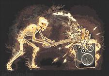 5x7  RUG  SKELETON BREAKING GUITAR  MUSIC ROOM  MODERN ROCK n ROLL ELECTRIC TIME