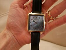 NEW WOMEN'S STEVE MADDEN WATCH LARGE NUMBERS FACE SQUARE GOLD BLACK LEATHER