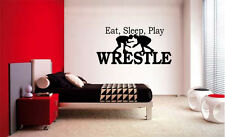 EAT SLEEP PLAY WRESTLE BOY LETTERING DECAL VINYL DECOR STICKER ROOM SPORTS