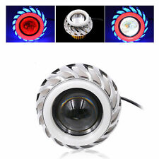 Dual Halo Motorcycle Headlight LED Projector Lens Angel Devil Eye Spot Light NEW