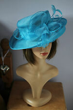 bright blue sky blue ladies wedding hat organza foldable by failsworth millinery