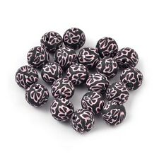 Packet of 20 x Black/Pink Polymer Clay 10mm Round Beads HA24205