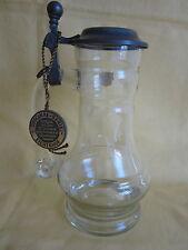 WMF Glaskrug mit Zinndeckel Serie Eichenhof Waldglas Krug 20cm hoch