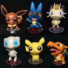 6pc/Set Pocket Monster Pokemon Pikachu Eevee Lucario Mew Charizard Meowth Figure