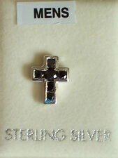 New Boxed Mens Sterling Silver Jet Colour CZ 10mm Stud Earring 925 Hallmarked