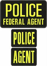 police federal agent, police, and agent embroidery patches 4x10 and 2x5 hook