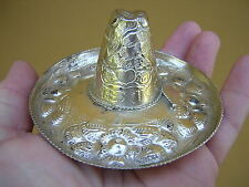 VERY ORNATE HAND MADE ANTIQUE VINTAGE STERLING SILVER MEXICAN SOMBRERO HAT #3