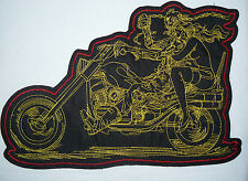 Skeleton Sexy Lady Large sew-on Embroidered Patch Motorcycle Biker