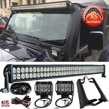 "50"" 288W+2x 4"" 18W LED Light Bar+Mounting Brackets For Jeep Wrangler TJ 1997~06"