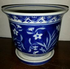 "Blue & White 4""  Flower / Plant Pot  Made in China  Blue mark"