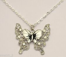 Hand Made Black & White Butterfly Silver Colour Necklace HCN187