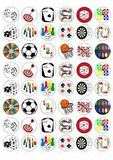 48 MINI GAME GAMES CUPCAKE TOPPERS ICED ICING FAIRY CAKE BUN TOPPERS