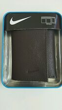 NIKE GOLF MEN'S TRI-FOLD WALLET, BROWN, GENUINE PEBBLE GRAIN LEATHER, NIB