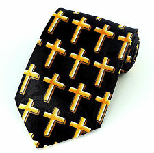 Gold Cross Of Jesus Mens Necktie Religious Christian Bible Black Neck Tie New