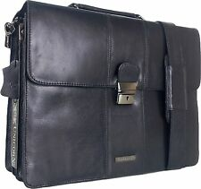 UNICORN Black Real Leather Bag Business Executive Briefcase Keylock Messenger#2N